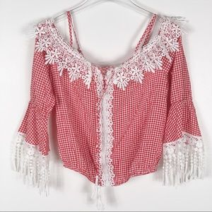 NWT Mocha gingham red white lace blouse